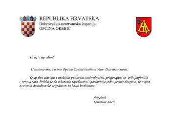 Čestitka općinskog vodstva povodom Dana državnosti!