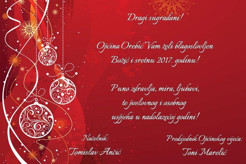 Božićna i novogodišnja čestitka Općine Orebić
