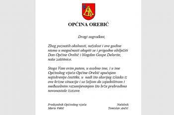 Čestitka vodstva Općine Orebić povodom Dana Općine i blagdana Gospe Delorite