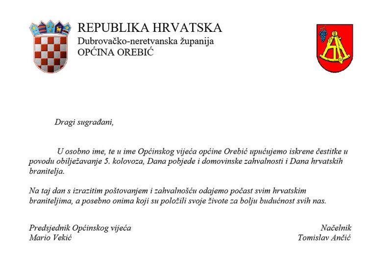 Općina Orebić čestita građanima Dan pobjede, domovinske zahvalnosti i Dan hrvatskih branitelja