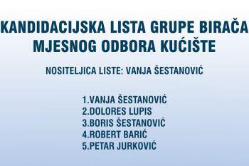 Predstavljanje kandidata za izbore za vijeća mjesnih odbora: Kandidacijska lista grupe birača Mjesnog odbora Kućište
