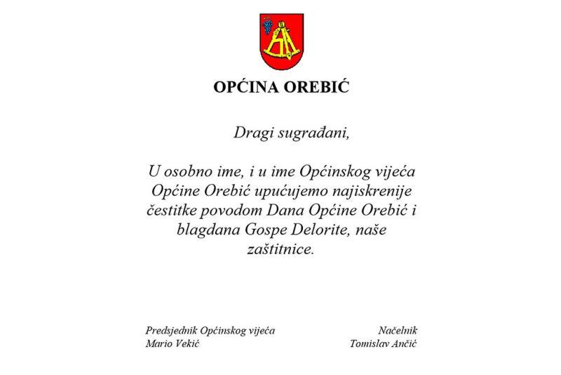 Čestitka općinskog vodstva prigodom Dana Općine Orebić i blagdana Gospe Delorite