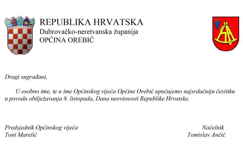 Čestitka povodom Dana neovisnosti iz Općine Orebić