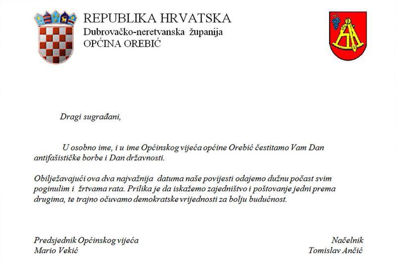 Čestitka Općine Orebić građanima povodom Dana antifašističke borbe i Dana državnosti
