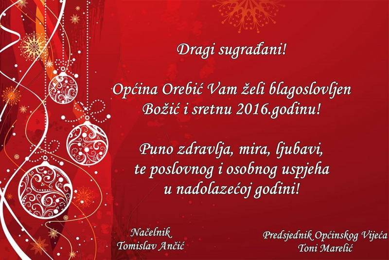 Blagdanska čestitka Općine Orebić