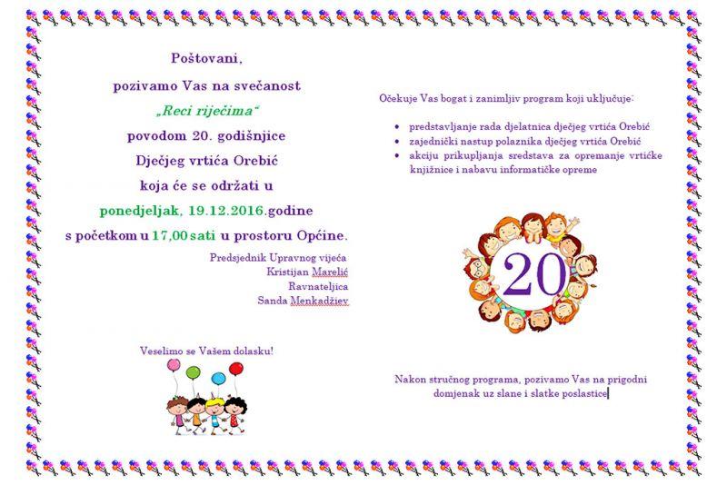 Svečanost povodom 20 godina rada DV Orebić - u ponedjeljak u 17 sati u dvorani Općine
