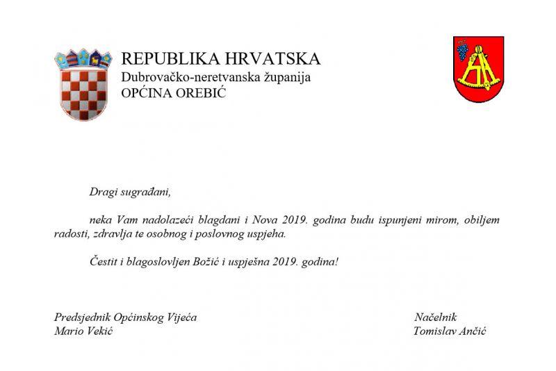 Blagdanska čestitka u ime Općine Orebić