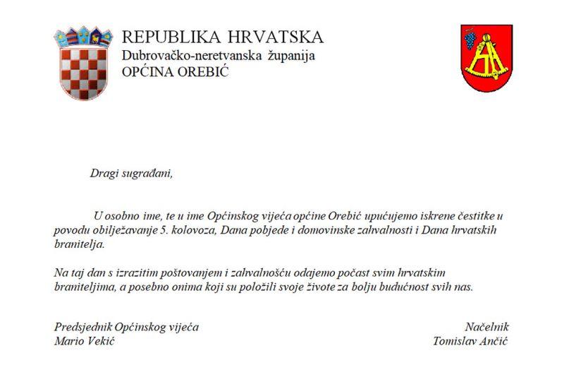 Dan pobjede, domovinske zahvalnosti i Dan hrvatskih branitelja čestita i vodstvo Općine Orebić