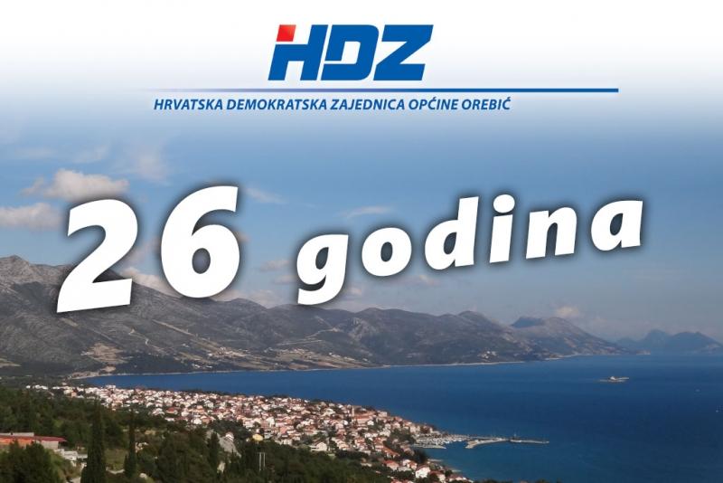 HDZ općine Orebić poziva na obilježavanje 26. obljetnice osnutka - na skupu i Tomislav Karamarko