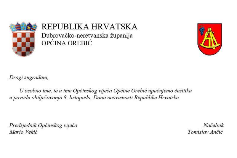 Čestitka Općine Orebić povodom 8. listopada - Dana neovisnosti