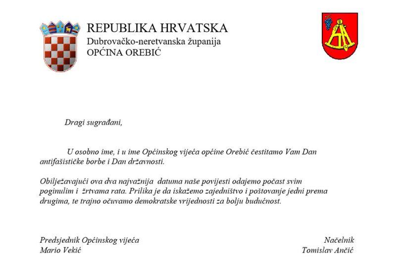 Čestitka Općine Orebić povodom Dana antifašističke borbe i Dana državnosti