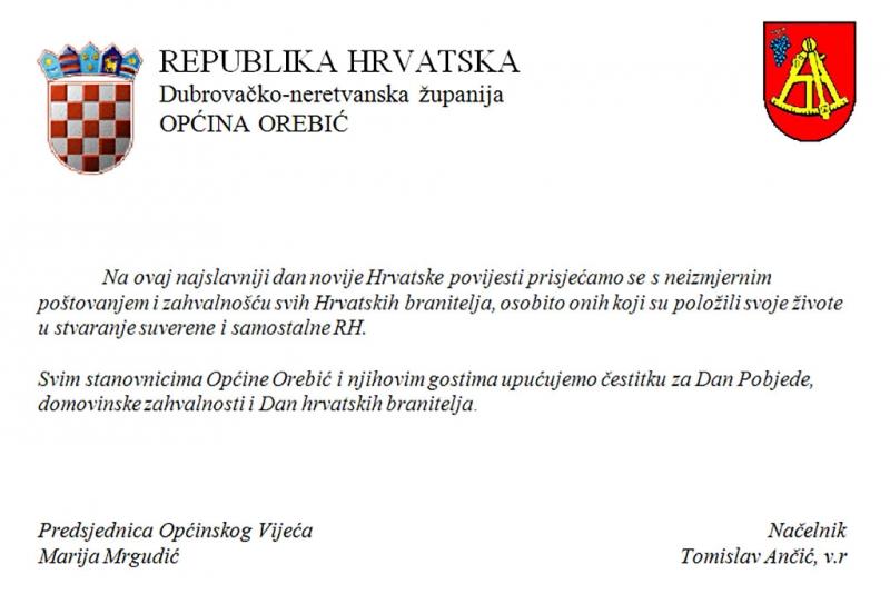 Čestitka Općine Orebić