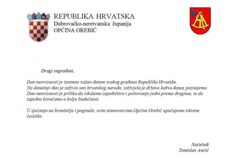 Čestitka općinskog načelnika