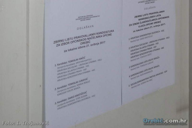 Ilustracija - zbirne liste kandidata u općini Orebić