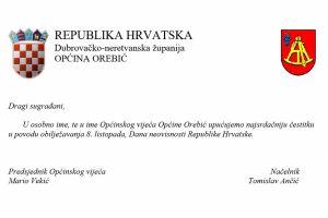 Čestitka Općine Orebić povodom Dana neovisnosti Republike Hrvatske