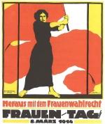 Plakat kojim se njemačke djevojke i žene pozivaju na skup 8. ožujka 1914.