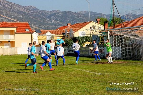Prvi gol Orebićana - strijelac Jozo Kordić (11')
