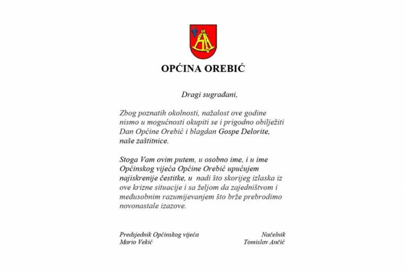 Čestitka Općine Orebić povodom Dana Općine i blagdana Gospe Delorite
