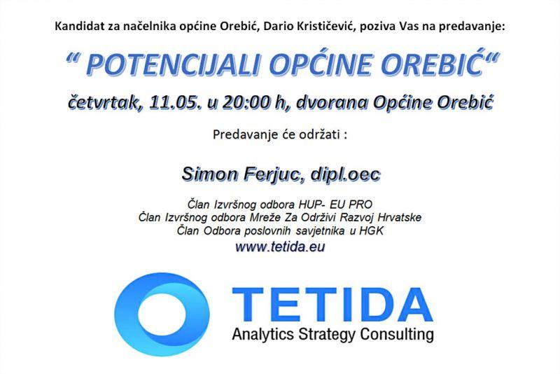 Predavanje 'Potencijali Općine Orebić' u četvrtak u 20h