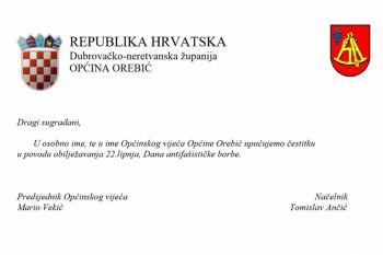 Vodstvo Općine Orebić uputilo je čestitku građanima povodom Dana antifašističke borbe