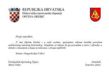 Uskrsna čestitka Općine Orebić