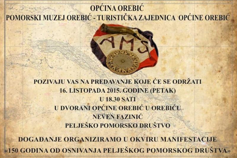 """Predavanje 'Pelješko pomorsko društvo"""" u petak u Orebiću"""