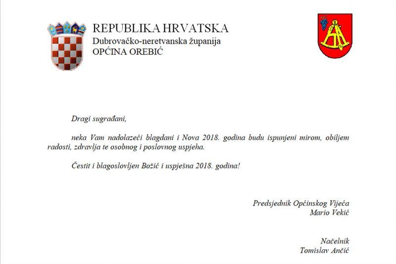 Sretan Božić i uspješnu novu 2018. poželjeli su i iz Općine Orebić