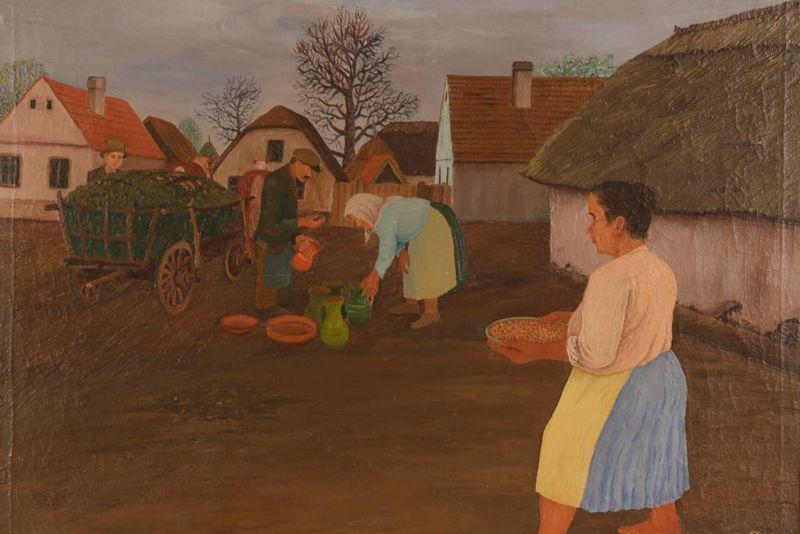 Mirko Virius, Lončar u selu, 1939, ulje na platnu - Muzej grada Koprivnice