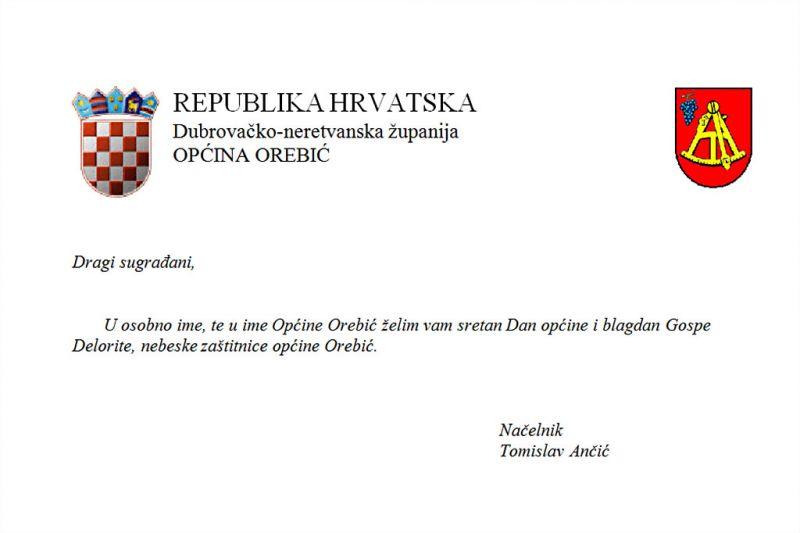 Čestitka Načelnika povodom sutrašnjeg Dana općine i blagdana Gospe Delorite