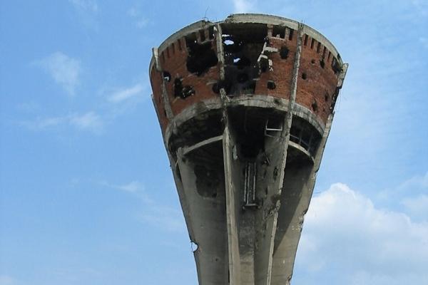 Vodotoranj na ulazu u Mitnicu - jedan od simbola razaranja i otpora Vukovara u Domovinskom ratu