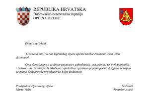 Čestitka Općine Orebić povodom Dana državnosti Republike Hrvatske