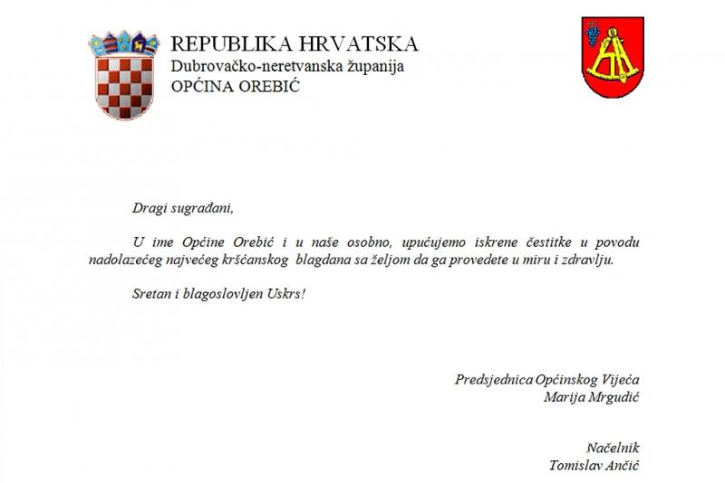 Predsjednica OV i načelnik Općine Orebić