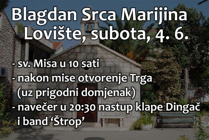 Obilježavanje blagdana Srca Marijina - sutra u Lovištu!