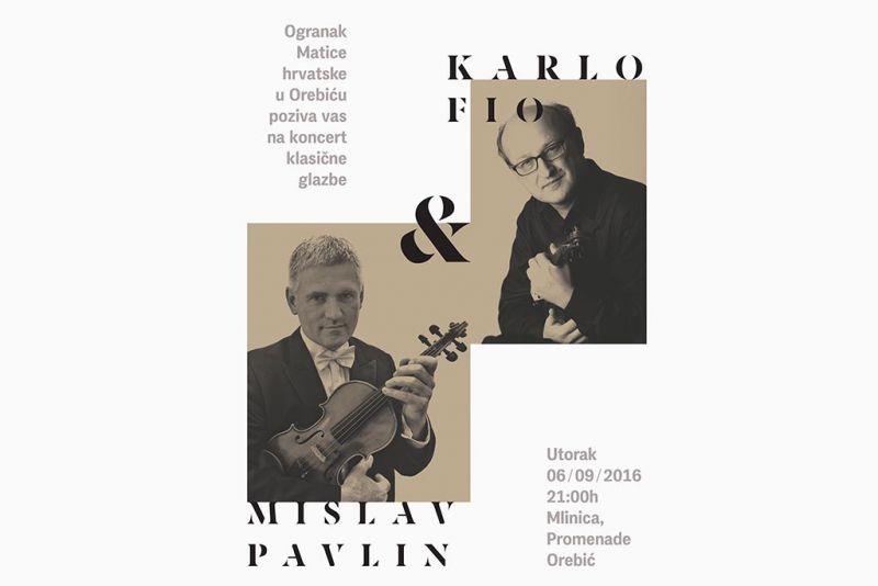 Koncert klasične glazbe: Karlo Fio i Mislav Pavlin u Mlinici
