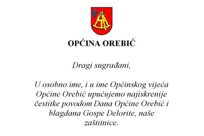 Čestitka načelnika Općine Orebić i predsjednika Općinskog vijeća povodom Dana Općine Orebić i blagdana Gospe Delorite